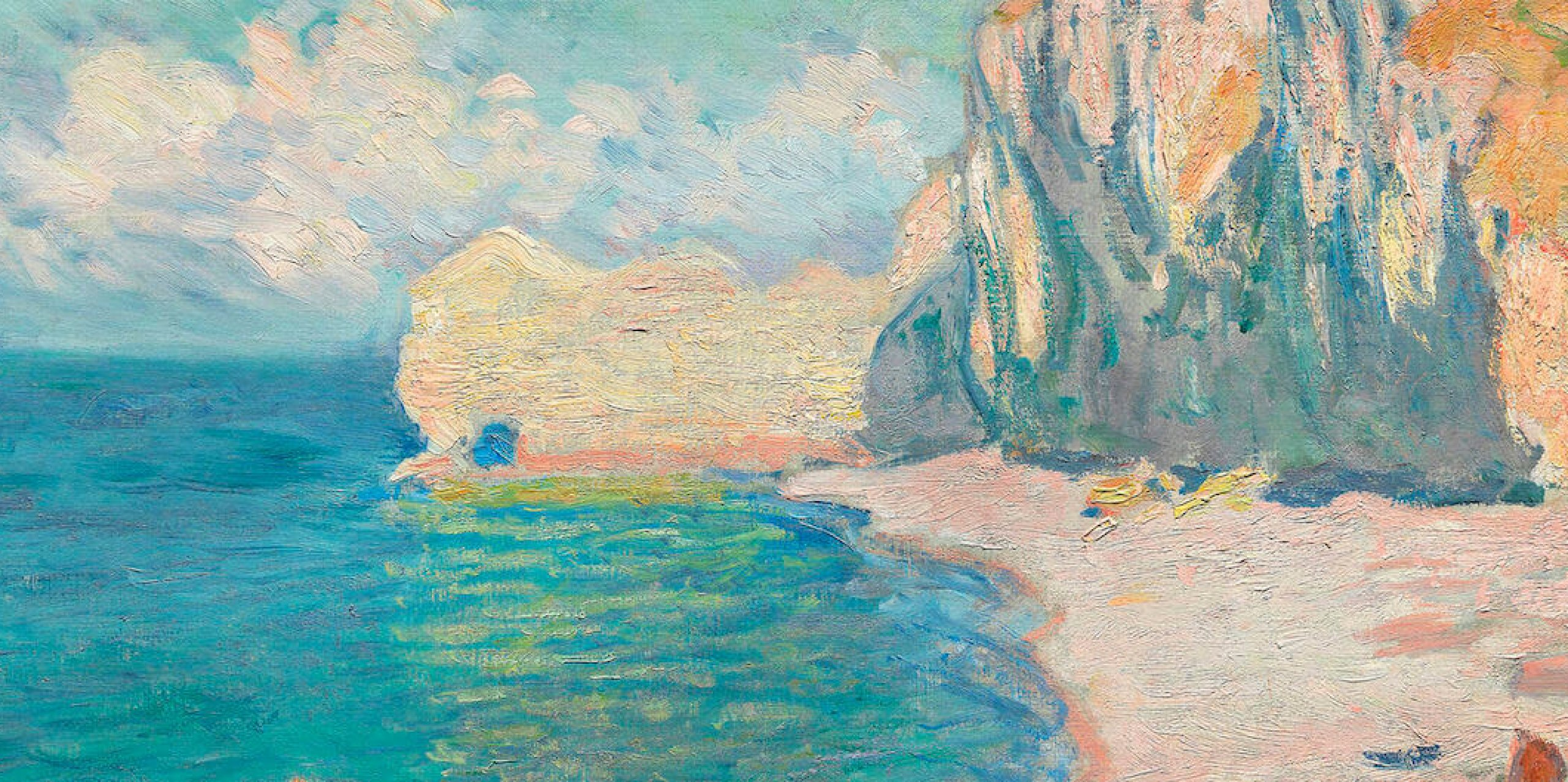 The Beach and the Falaise d'Amont (1885) by Claude Monet. Original from the Art Institute of Chicago. Digitally enhanced by rawpixel.
